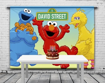 Sesame Street Birthday Backdrop Custom Banner Cookie Elmo Personalized Photo Props Any Size