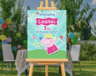 Baby Shower DIGITAL FILE Peppa Pig Custom welcome sign Pink Peppa Princess Birthday Party Poster Glitter PDF file Banner Baptism