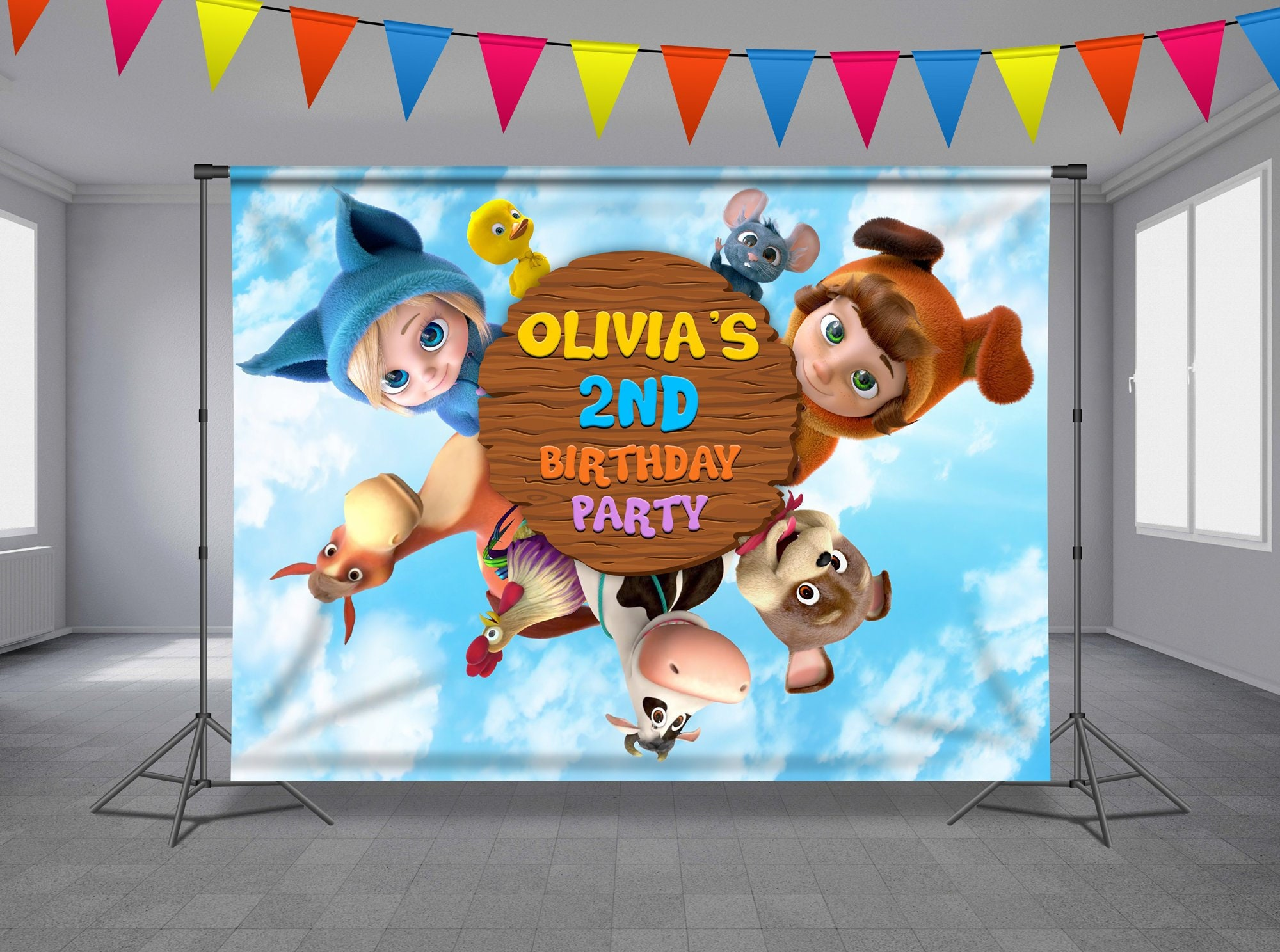 foto de Dave and Ava and Animals Birthday Backdrop Yankee Doodle