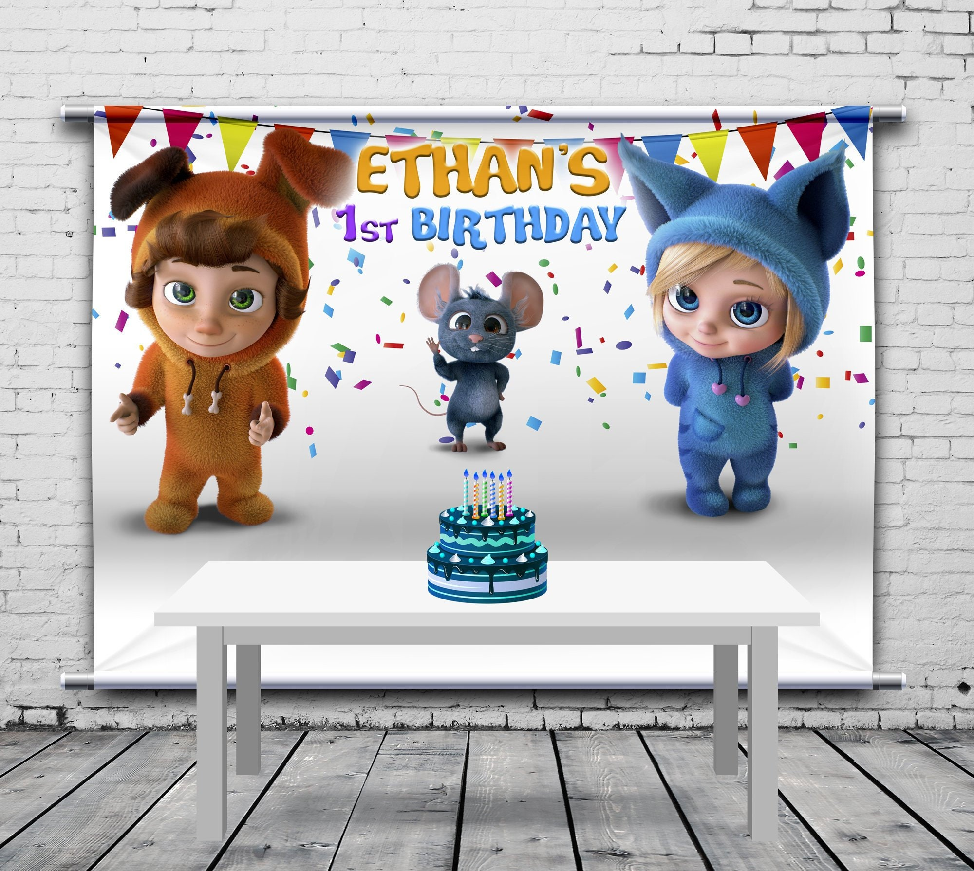 foto de Dave and Ava Birthday Backdrop Philip the Mouse White Etsy
