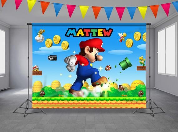 Large Super Mario Anniversaire Poster Bannière Personnalisée Tout Texte Nom Âge