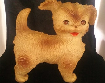 Vintage  Edward Mobley Co Rubber Spotted Puppy Dog Ca 1950's  Sleepy eyes, and  the Squeaker still Works!
