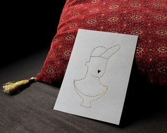 Embroidered card bust