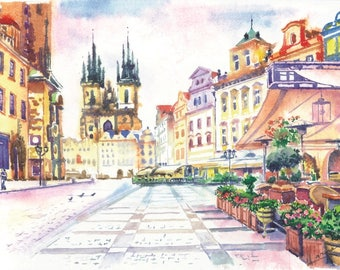 Cityscape Watercolor print Europe art Prague European architecture Interior gift Old city Europe fine art City gift Colorful print