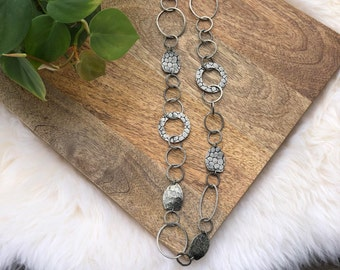 vintage antiqued silver metal links necklace   jewelry