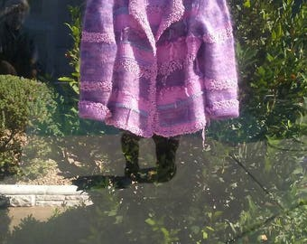 Lilac sweater jacket. Multiple yarns