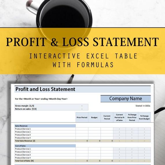 GuV Excel-Tabelle mit interaktiven Formeln Jährliche Tisch | Etsy