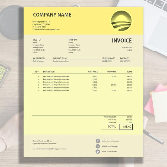 Invoice Template Excel Invoice Invoice Design Spreadsheet With Social Media Contact Icons Active Calculation Formulas Download