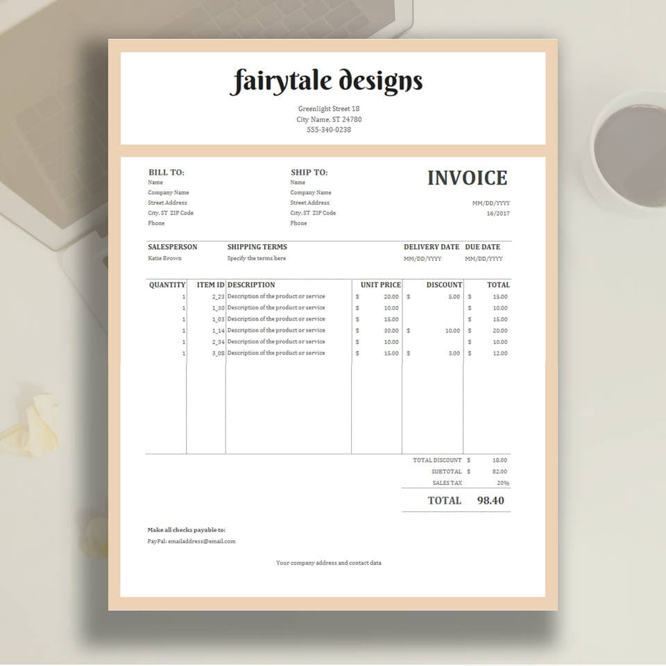 Invoice Template Excel Invoice Business Invoice Etsy