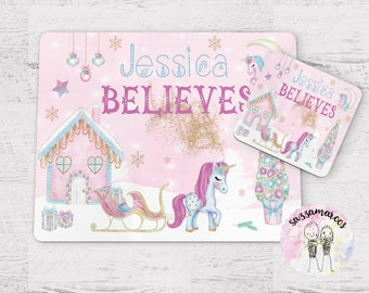 Unicorn placemat---Kids-Personalized-Placemat-for-Christmas Christmas gifts