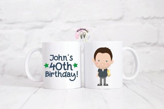 Personnalisé 40e anniversaire personnage Mug / 40e cadeau d'anniversaire / cadeau pour 40ème anniversaire / votre image sur une tasse / cadeau pour lui / cadeaux pour lui