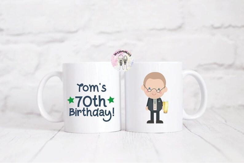 Personalised 70th Birthday Character Mug Gift