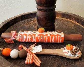 Pumpkin Spice Latte Tiered Tray Set, Pumpkin Spice Tiered Tray Bundle, Fall Mini Rolling Pins, Fall Tiered Tray Beads, Fall Coffee Bar Decor