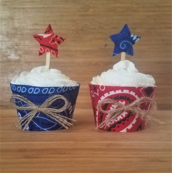 4th of july cupcake toppers wrappers independence day star etsy