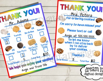 graphic regarding Girl Scout Cookie Thank You Notes Printable identified as Cookie obtain kind Etsy