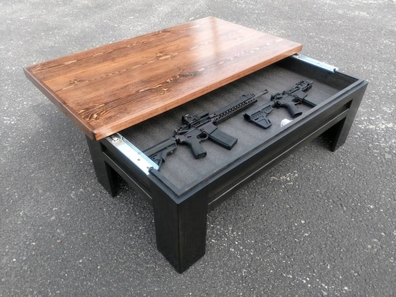 Hidden Gun Storage Sliding Top Coffee Table Etsy