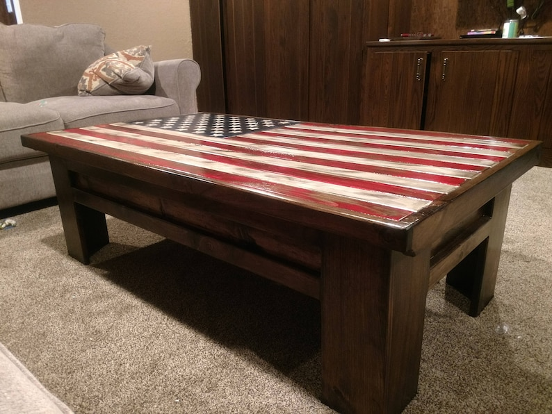 Gun Storage Coffee Table With American Flag Top Etsy