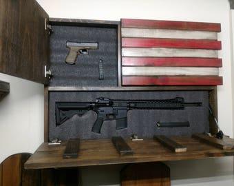 Hidden gun storage.  Large American Flag.