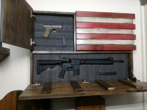 Hidden Gun Storage Large American Flag Etsy