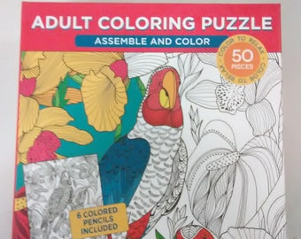 Adult Coloring Puzzle with 6 Colored Pencils  ( Birds)