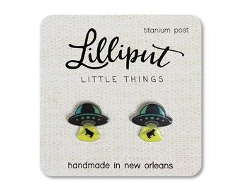 UFO Earrings // Flying Saucer // UFO Studs // UFO Jewelry // Alien Earrings // Geek Gift //