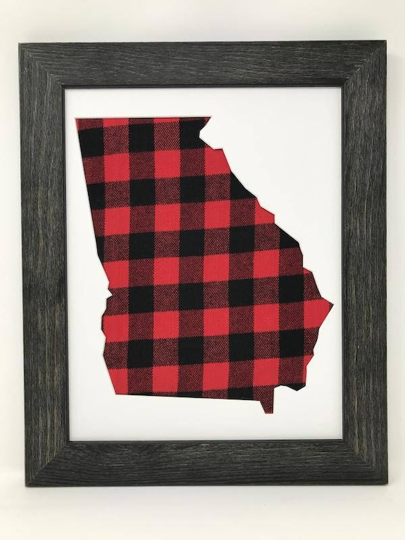 18x24 Rustic Black Solid Wood Frame With Georgia State
