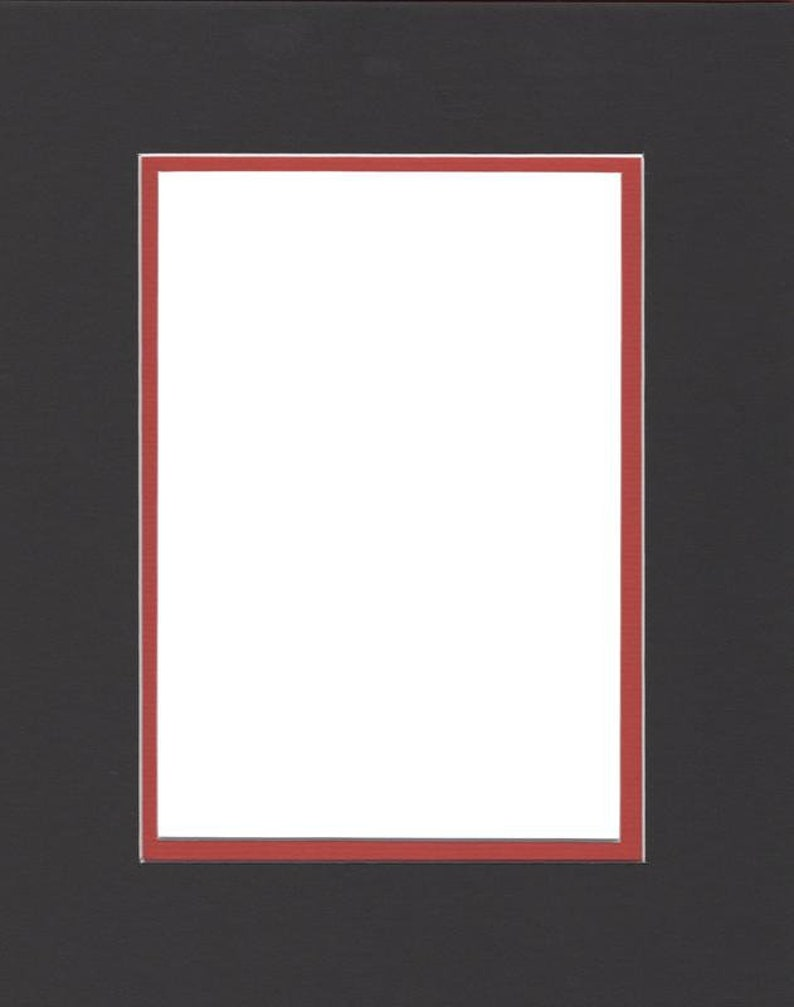 Pack of 2 24x36 Double Acid Free White Core Picture Mats cut for 20x30 Pictures in Black and Orange