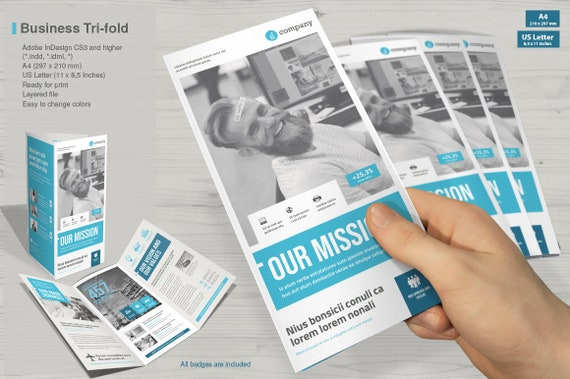 tri fold brochure print template indesign template etsy