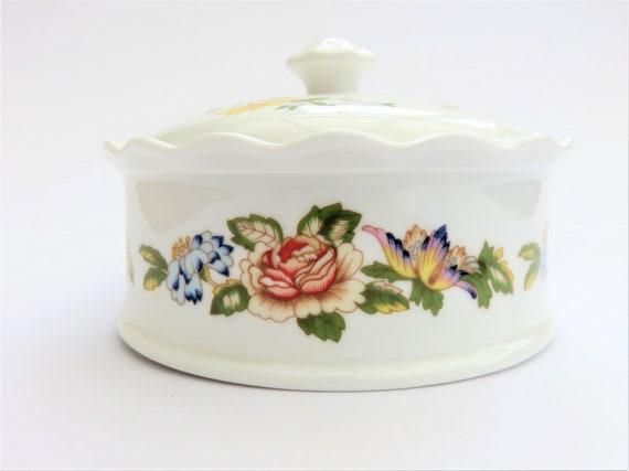 decorated with flowers Aynsley Cottage Garden round lidded trinket bowl  pin dish English fine bone china.