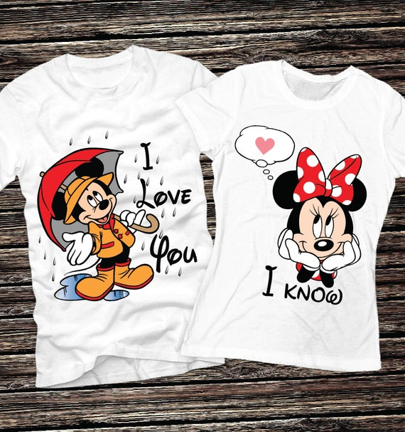 Mickey and Minnie Couple Shirts Minnie and Mickey Couples T Shirts Disneyland Matching Shirts Disney Valentines Day Honeymoon T shirts