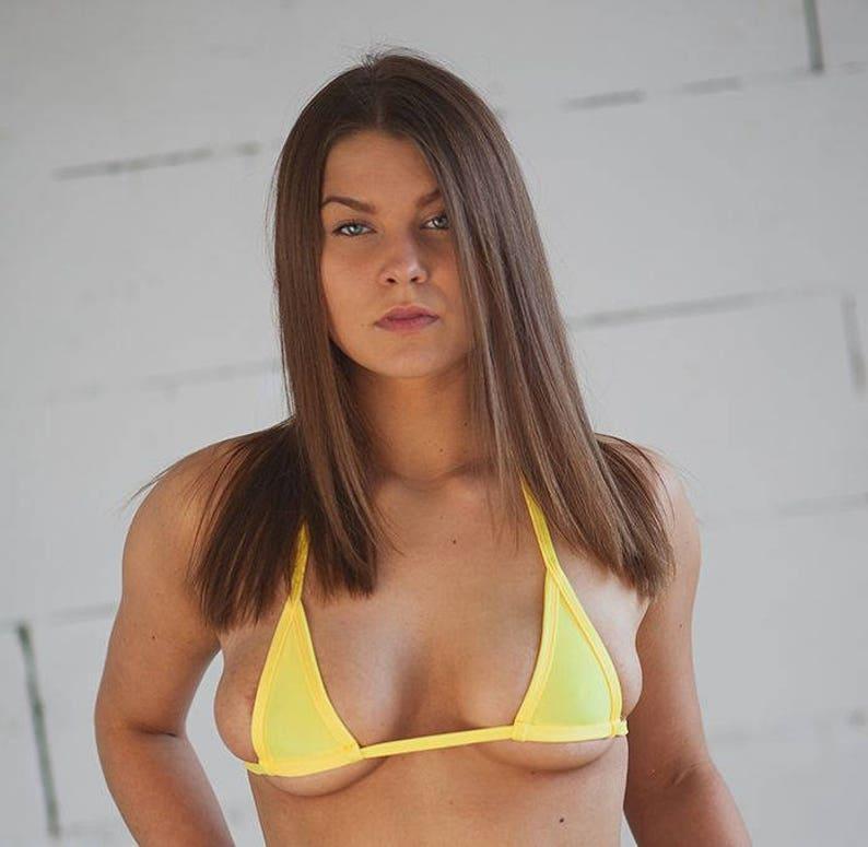 Plus Micro Top Yellow Swimwear Bra Color Mini Extreme Bikini BedoCx