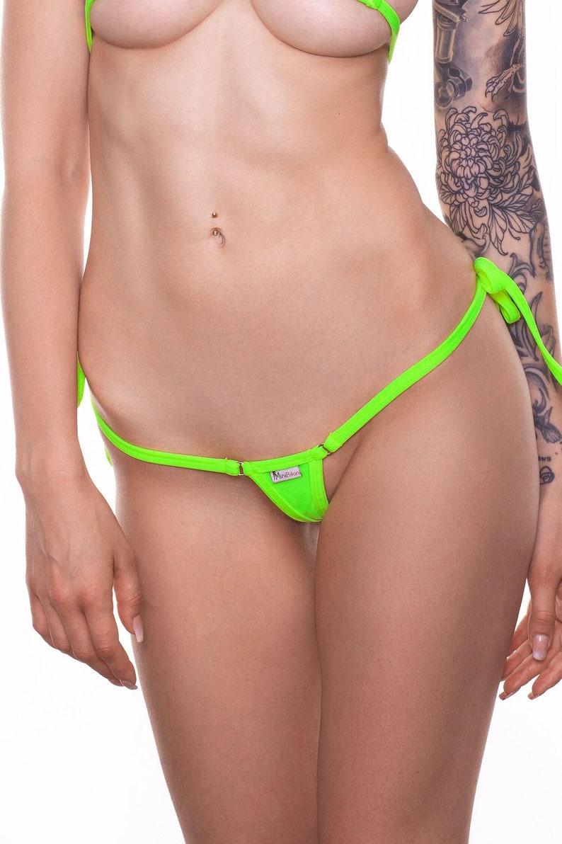 49ce62f4c2b Extreme Micro Bikini Bottom Neon Yellow Color Extreme Micro | Etsy