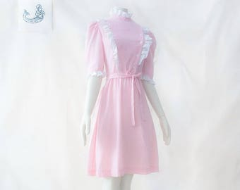 Vintage Sweet dress  ruffle frilly candy striper prairie 70s 60s