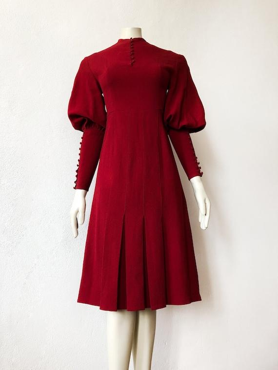 1930 Puff Sleeves Dress Vintage Art Deco Crepe Red