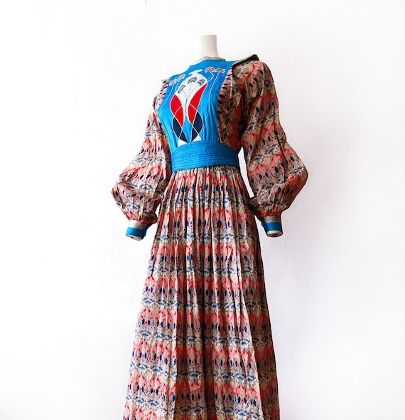 Most Gorgeous 70s Silk Dress Lieberty Poet Sleeves