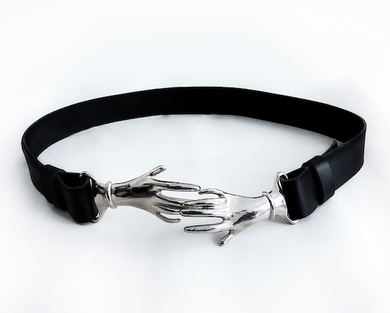 Rare Vintage Silver Metal Clasping Hands Belt blac