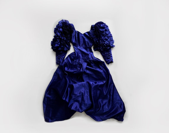 Gorgeous Dress Dramatic Deep Blue Maxi Frill Ruffl