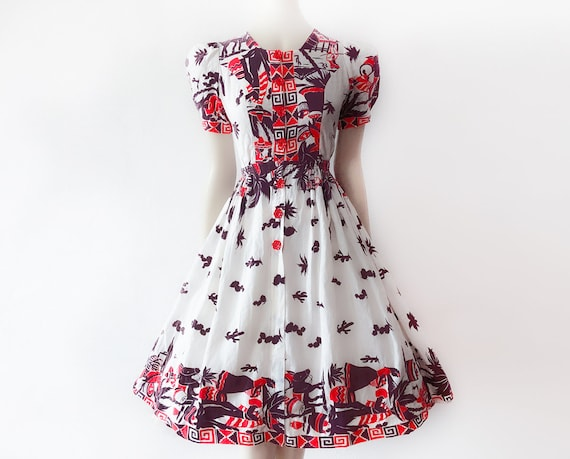Rare 1940s Mexican Dress Vintage Mexico Petticoat… - image 1