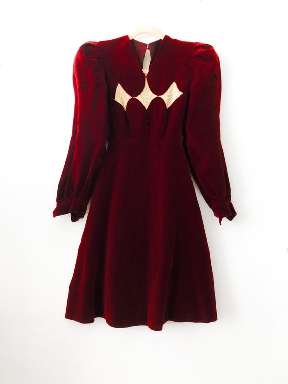 Vintage Red Velvet Dress 1920 Antique 30s 40s