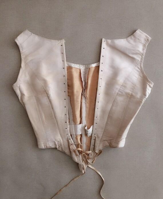 Antique Corset Top Gorgeous Silk Bodice 18th Cent… - image 2