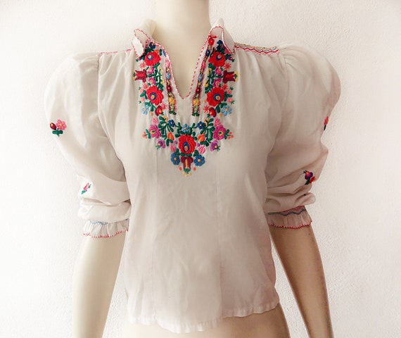 Vintage Hungarian Blouse Flower Embroidery Gauze C