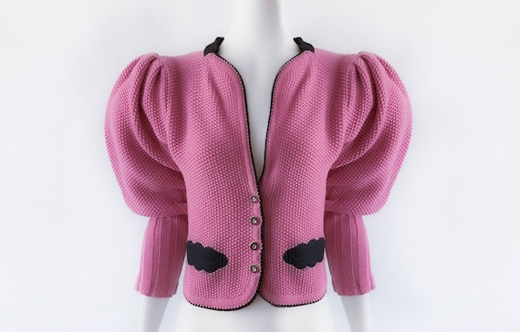 Mutton Sleeve / Puff Sleeve Cardigan Wool Knit pin