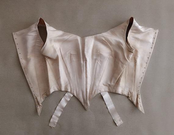 Antique Corset Top Gorgeous Silk Bodice 18th Cent… - image 4