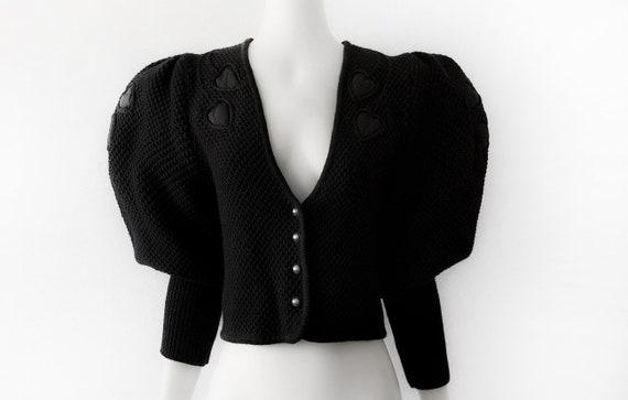 Mutton Sleeve / Puff Sleeve Black Cardigan Wool Kn
