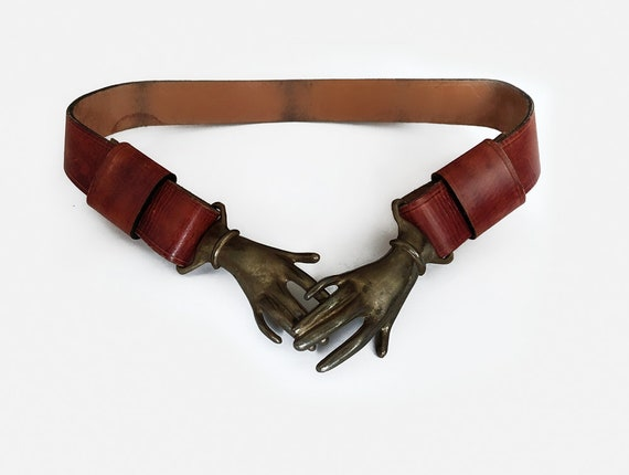 Rare Vintage Metal Clasping Hands Belt leather cla
