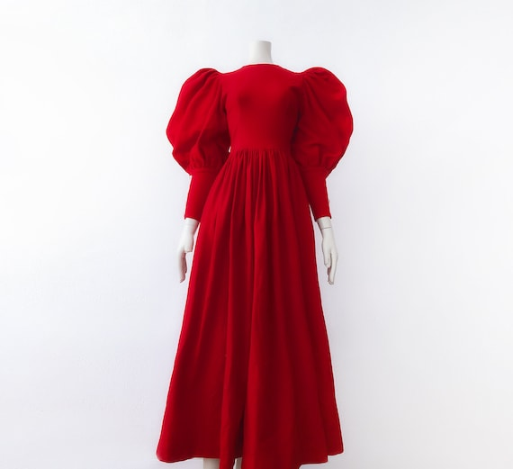 Fairytale Blood Red Dress Puffy Mutton Sleeves Woo