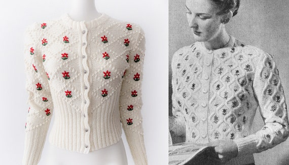 Vintage Wool Knit Cardigan 40s Flower Embroidery T