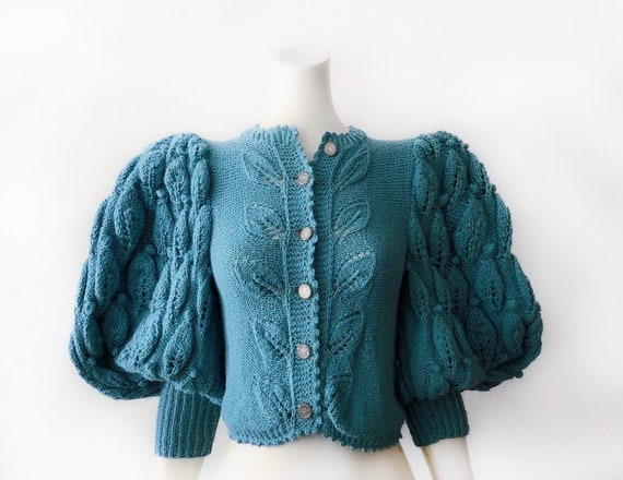 Mutton Sleeve Puff Balloon Sleeve Cardigan Wool Kn