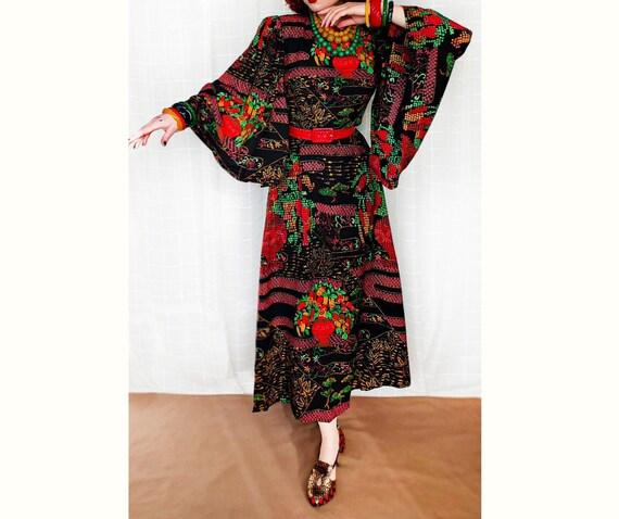 Beautiful Maxi Dress Kimono Sleeves 20s 30s Kaftan
