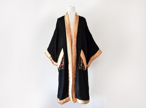 1920s Flapper Coat Art Deco Robe Antique Kimono Si
